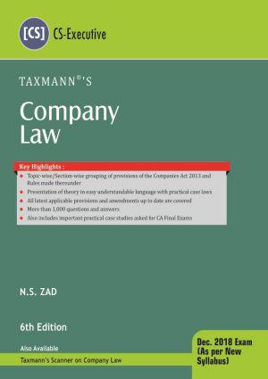 Company Law by N.S Zad (CS-Executive) Dec.2018 Exam (As Per New Syllabus)