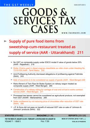 Goods & Services Tax Cases - January 29,2019 to February 4,2019