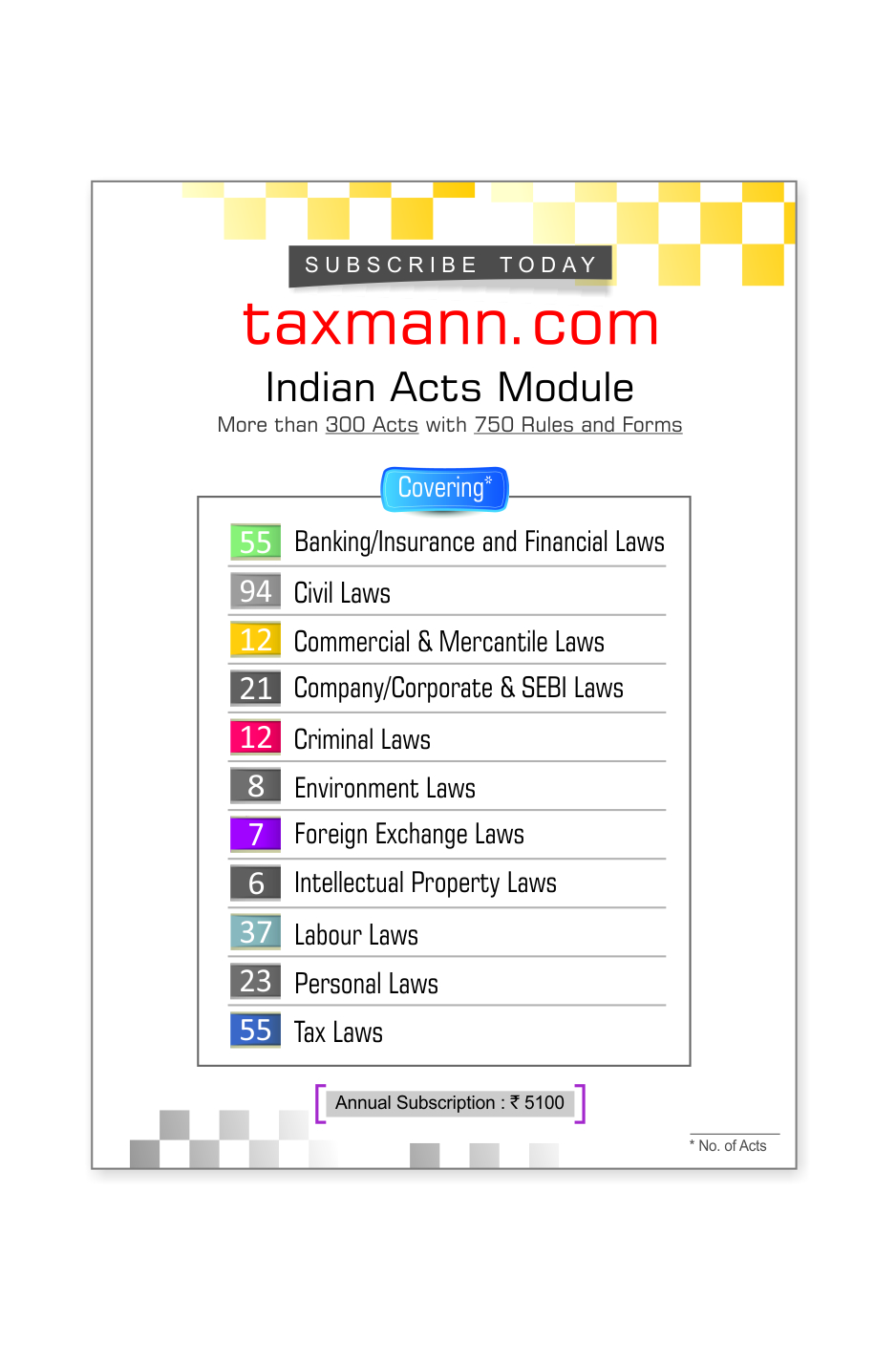 Indian Acts Module with more than 300 Act, 780 Rules & 270 Forms
